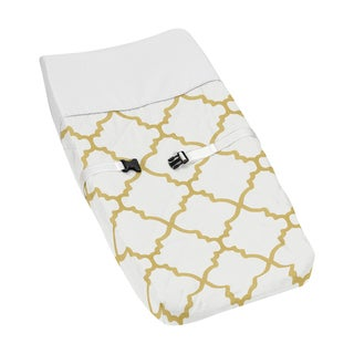 Sweet Jojo Designs Trellis Collection White and Gold Microfiber Changing Pad Cover