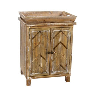 Two Door Wooden Cabinet with Tray