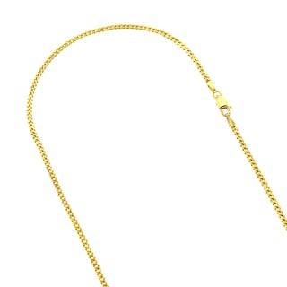 Luxurman 14K Solid Gold 2mm Wide Diamond Cut Curb Link Chain Necklace Lobster Clasp