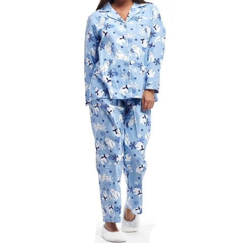La Cera Women's Polar Bear Flannel Plus Size Long Sleeve Pajama Set
