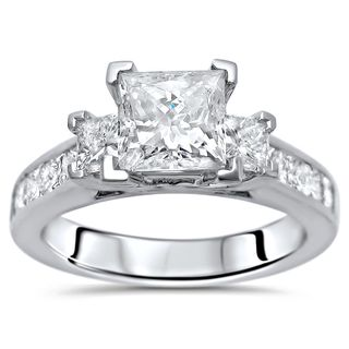 Noori 14k White Gold 1 3/4ct TDW Princess-cut 3-stone Diamond Engagement Ring