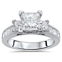 Noori Certified 14k White Gold 1 3/4ct TDW Princess-cut 3-stone Diamond Engagement Ring