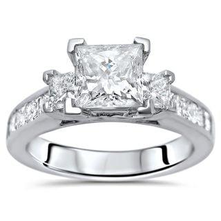 Noori Certified 14k White Gold 2ct TDW Princess-cut 3-stone Diamond Engagement Ring