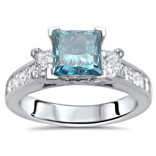 Noori Certified 14k White Gold 2ct TDW Blue Princess-cut 3-stone Diamond Engagement Ring