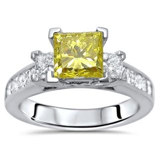 Noori Certified 14k White Gold 2ct TDW Canary Yellow Princess-cut 3-stone Diamond Engagement Ring
