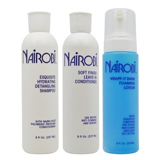 Nairobi Exquisite 8-ounce Hydrating Shampoo & Soft Leave-in Conditioner + Wrapp-It Shine Lotion