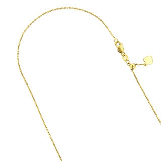 Luxurman 14k Solid Gold 0.9mm Wide Adjustable Cable 22, 30-inch Chain Necklace with Heart Charm Lobster Claw Clasp