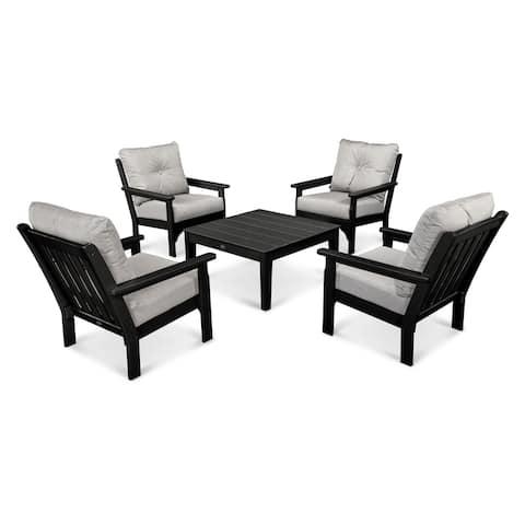 POLYWOOD® Vineyard Outdoor Cushioned 5-piece Conversation Set