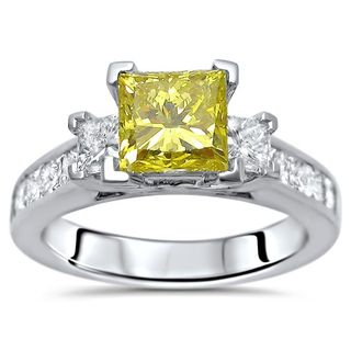 Noori Certified 14k White Gold 1 4/5ct TDW Canary Yellow Princess-cut 3-stone Diamond Engagement Ring