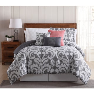 Lace Scroll 12-piece Bed In a Bag Comforter Set with Bonus Pillowcases