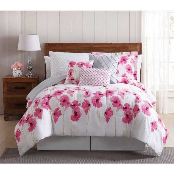 Shop springfield pink floral 12 piece bed in a bag comforter set springfield pink floral 12 piece bed in a bag comforter set with mightylinksfo