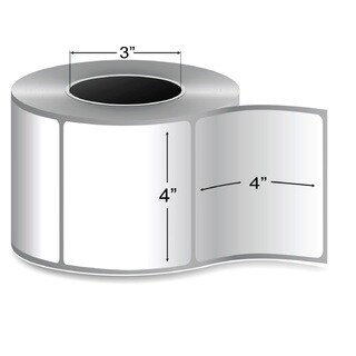 White 4-inch x 4-inch (3-inch Core Diameter) Thermal Transfer Shipping Labels (Case of 300 Rolls, 1,475 Labels per Roll)