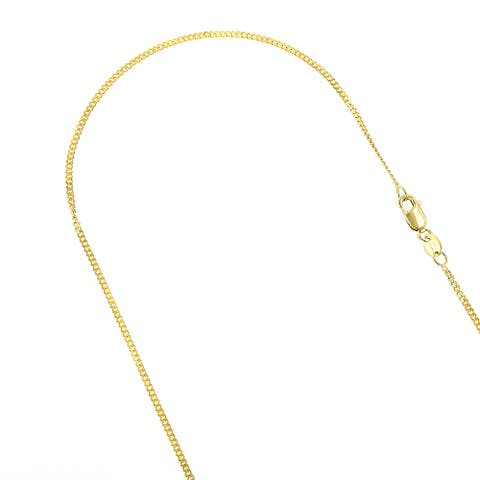 IcedTime 10k Solid Gold 1mm Wide Diamond Cut Curb Link Chain 16 to 24-inches Necklace Lobster Clasp
