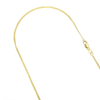 Luxurman 10k Solid White or Yellow Gold 1mm Wide Diamond Cut Curb Link Chain 16 to 24-inches Necklace With Lobster Claw