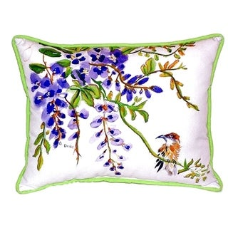 Wisteria and Bird Small Indoor/ Outdoor Throw Pillow
