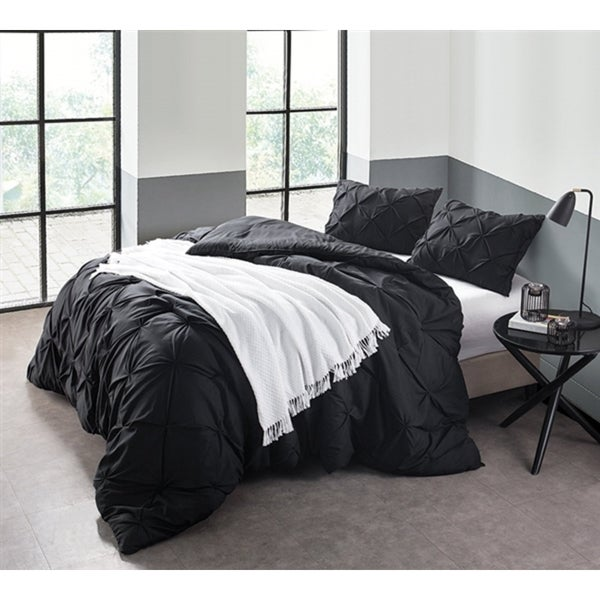 BYB Black Pin Tuck Comforter Set
