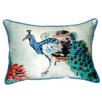 Betsy's Peacock Small Indoor/ Outdoor Throw Pillow