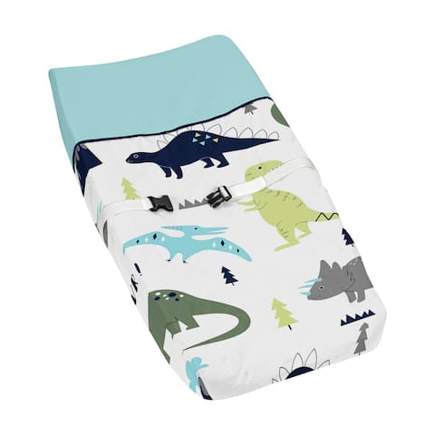 Sweet Jojo Designs Blue/Green Mod Dinosaur Collection Changing Pad Cover - Multi