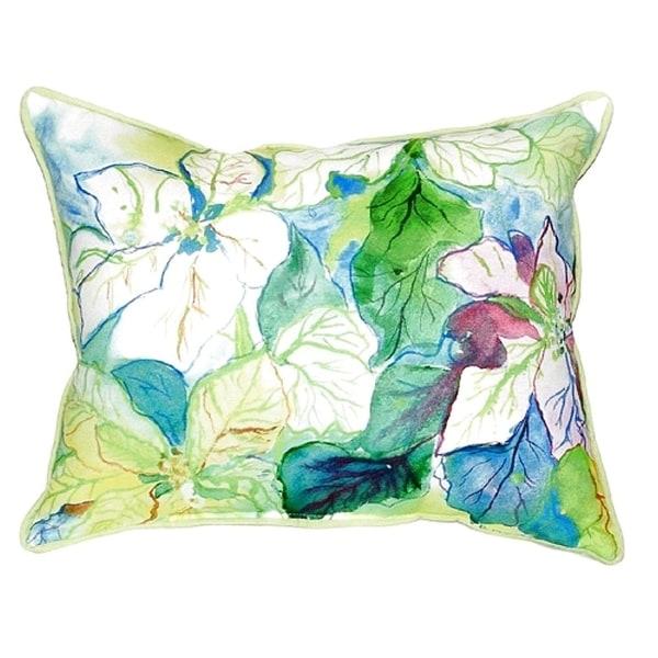 White Poinsettia Small Indoor/ Outdoor Throw Pillow