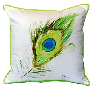 Peacock Feather Small Indoor/ Outdoor Throw Pillow