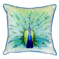 Peacock Small Indoor/Outdoor Throw Pillow 12x12