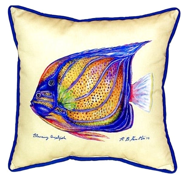 Sailfin Tang - Yellow Small Indoor/ Outdoor Throw Pillow