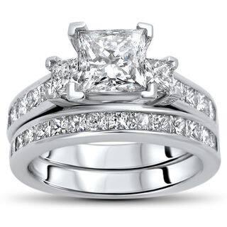 Noori Certified 14k Gold 2 3 4ct TDW Princess Cut Diamond Bridal Set