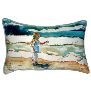 Girl at the Beach Small Indoor/ Outdoor Throw Pillow