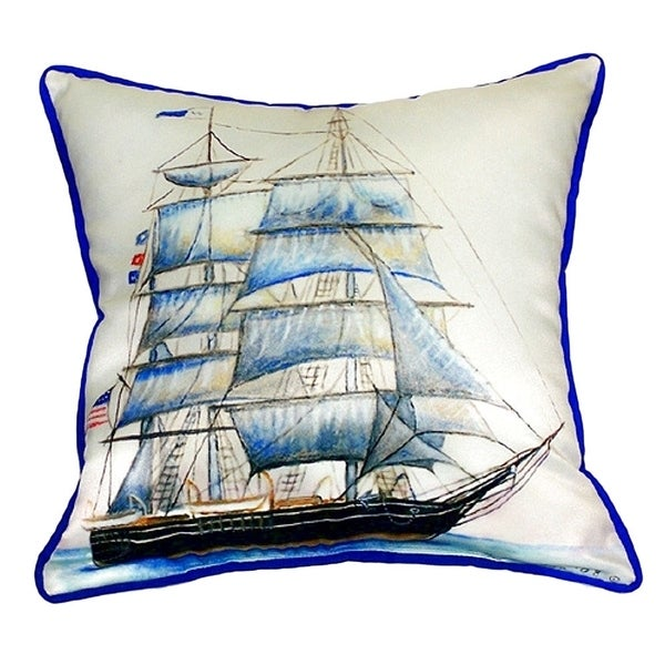 Whaling Ship Small Indoor/ Outdoor Throw Pillow
