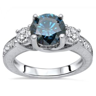 Noori Certified 14k White Gold 1 2/5ct TDW Blue Round 3-stone Diamond Engagement Ring