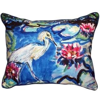 Heron and Waterlilies Small Indoor/ Outdoor Throw Pillow