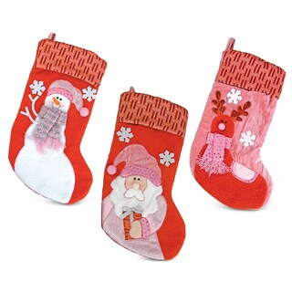 Puzzled Santa/Snowman/Reindeer Pink Christmas Stockings