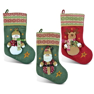 Santa, Snowman, and Reindeer Christmas Stocking (Set of 3)