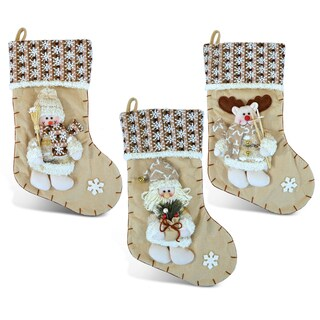 Puzzled Santa, Snowman, and Reindeer Multicolor Urbane Christmas Stockings (Pack of 3)