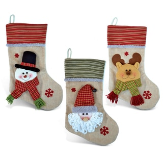 Santa, Snowman, and Reindeer Chic Christmas Stocking (Set of 3)
