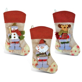 Puzzled Inc. Santa, Snowman, and Reindeer Stylish Christmas Stockings
