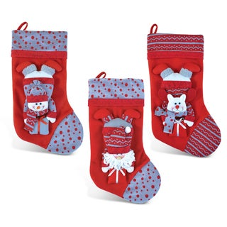 Santa, Snowman, and Reindeer Posh Red Christmas Stocking