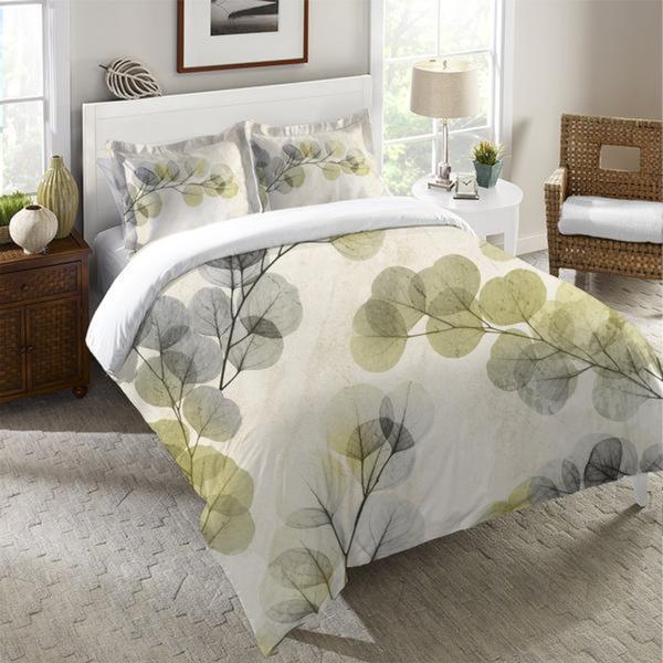 Laural Home Smoky Eucalyptus Fronds Duvet Cover - Green