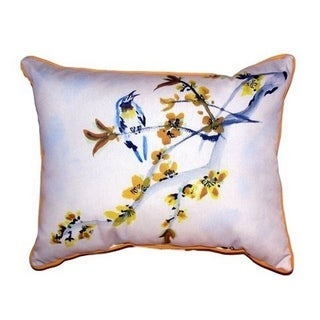 Bird and Forsythia Small Indoor/ Outdoor Throw Pillow