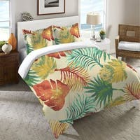 Laural Home Multicolored Palm Leaves Duvet Cover