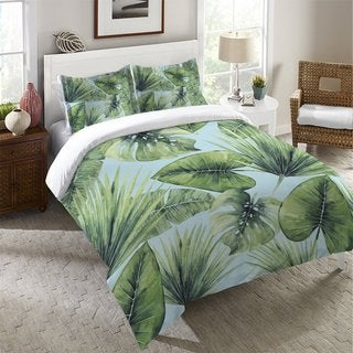 Laural Home Green Palm Leaves Duvet Cover