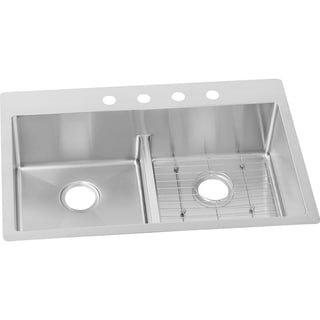 Elkay Crosstown Stainless Steel Double Bowl Dual Mount Sink Kit with Aqua Divide ECTSRA33229BGFR2 Polished Satin