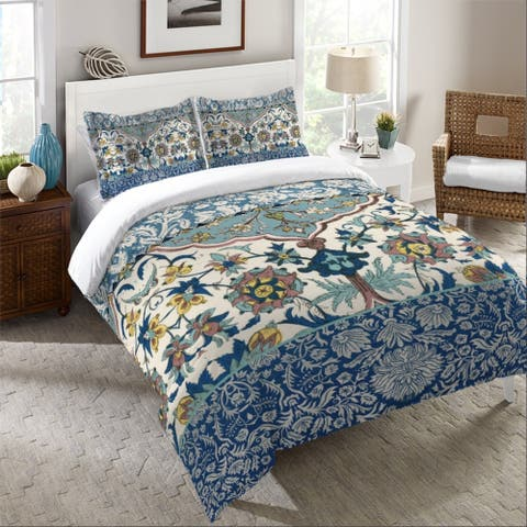 Laural Home Boho Blue Tapestry Duvet Cover