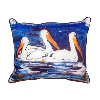 Three Pelicans Small Indoor/ Outdoor Throw Pillow