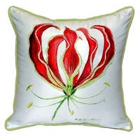 Red Lily Small Indoor/ Outdoor Throw Pillow