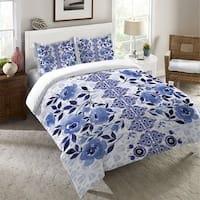 Laural Home Moonlight Blue Flowers Duvet Cover