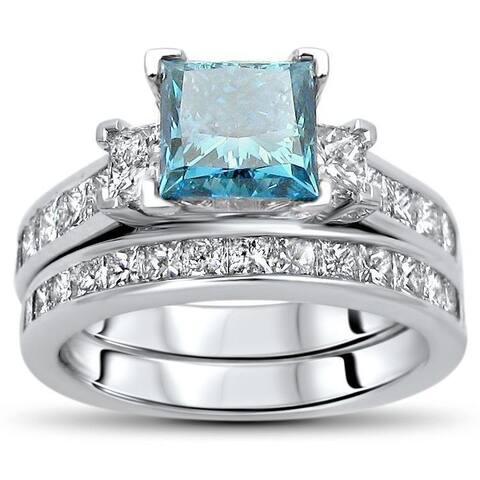 Certified 14k Gold 2 3/4ct TDW Blue Princess-cut Diamond Bridal Set - White