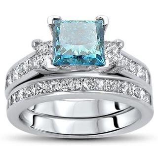 Noori Certified 14k Gold 2 3/4ct TDW Blue Princess-cut Diamond Bridal Set - White