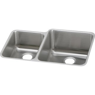 "Elkay Lustertone Classic Stainless Steel 30-3/4"" x 21"" x 9-7/8"", Offset 40/60 Double Bowl Undermount Sink"