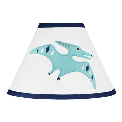 Sweet Jojo Designs Blue and Green Mod Dinosaur Collection Multicolor Fabric Lamp Shade